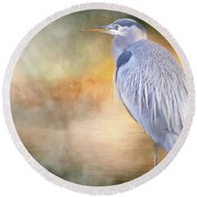 The Great Blue Heron Round Beach Towel