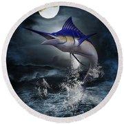 The Great Blue Marlin Round Beach Towel