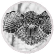 Round Beach Towel featuring the photograph The Great Grey Owl In Black And White by Mircea Costina Photography