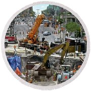 Round Beach Towel featuring the photograph The Great Ottawa Sink Hole by Stephanie Moore