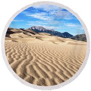 The Great Sand Dunes Of Colorado Round Beach Towel