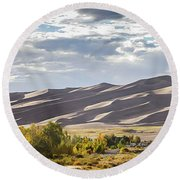 The Great Sand Dunes Triptych - Part 1 Round Beach Towel
