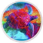 The Great Sea Turtle In Abstract Round Beach Towel