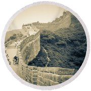 Round Beach Towel featuring the photograph The Great Wall Of China by Heiko Koehrer-Wagner