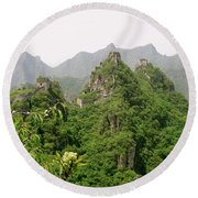 The Great Wall Of China Winding Over Mountains Round Beach Towel