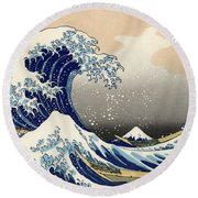 The Great Wave Off Kanagawa Round Beach Towel