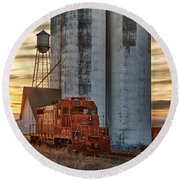 The Great Western Sugar Mill Longmont Colorado Round Beach Towel