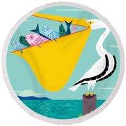 The Greedy Pelican Round Beach Towel