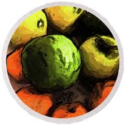 The Green And Gold Apples With The Orange Mandarins Round Beach Towel