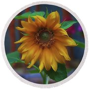 The Green And Gold Round Beach Towel