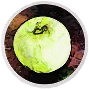 The Green Apple In The Bright Light Round Beach Towel