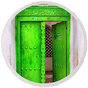 The Green Door Round Beach Towel