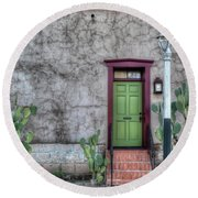 Round Beach Towel featuring the photograph The Green Door by Lynn Geoffroy
