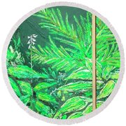 The Green Flower Garden Round Beach Towel