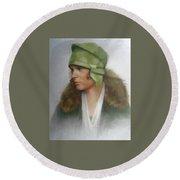 The Green Hat Round Beach Towel by Janet McGrath