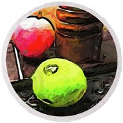 The Green Lime And The Apple With The Pepper Mill Round Beach Towel