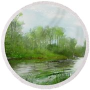 Round Beach Towel featuring the painting The Green Magic Of Ordinary Days by Ivana Westin