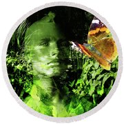 Round Beach Towel featuring the photograph The Green Man by LemonArt Photography