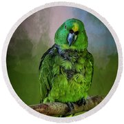 The Green Parrot Round Beach Towel by Cyndy Doty