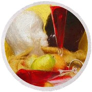 Round Beach Towel featuring the digital art The Green Pear by Elf Evans