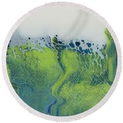 The Green Tides Round Beach Towel