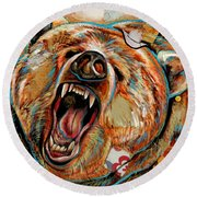 The Grizzly Bear Round Beach Towel