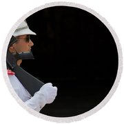 Round Beach Towel featuring the photograph The Guard by Keith Armstrong