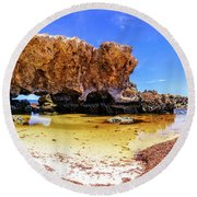 Round Beach Towel featuring the photograph The Guardian, Two Rocks by Dave Catley