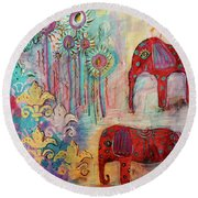 Round Beach Towel featuring the mixed media The Guardians Of Night And Day by Mimulux patricia no No