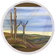 Round Beach Towel featuring the painting The Guardians by Pat Purdy