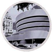 The Guggenheim Black And White Round Beach Towel