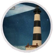 Round Beach Towel featuring the photograph The Guiding Light by Juli Scalzi
