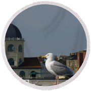 The Gull And The Dome 2 Round Beach Towel