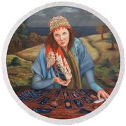 The Gypsy Fortune Teller Round Beach Towel