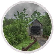 Round Beach Towel featuring the photograph The Halpin Covered Bridge by Guy Whiteley