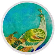 The Handsome Peacock - Kimono Series Round Beach Towel