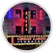 Round Beach Towel featuring the photograph The Hanna Great Lakes Theater by Frozen in Time Fine Art Photography