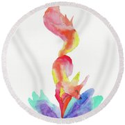 The Happy Fox  Round Beach Towel