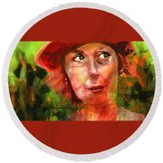 Round Beach Towel featuring the painting The Happy Gardener by Jim Vance