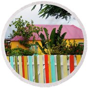 Round Beach Towel featuring the photograph The Happy House, Island Of Curacao by Kurt Van Wagner