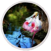 The Happy Spoonbill Round Beach Towel