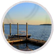 Round Beach Towel featuring the photograph The Harbor Bristol Rhode Island by Tom Prendergast