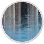Round Beach Towel featuring the photograph The Harbor Reflects by Karol Livote