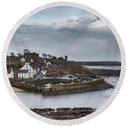 The Harbour Of Crail Round Beach Towel