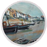 The Harbour Of Mevagissey Round Beach Towel by Nop Briex