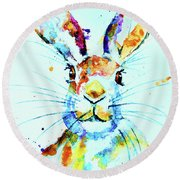 Round Beach Towel featuring the painting The Hare by Steven Ponsford