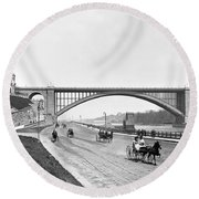 The Harlem River Speedway Round Beach Towel by William Henry jackson
