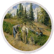 The Harvest, Pontoise, 1881  Round Beach Towel by Camille Pissarro