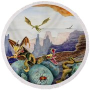 Round Beach Towel featuring the painting The Hatchlings by Sam Sidders