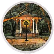 The Haunted Gazebo Round Beach Towel